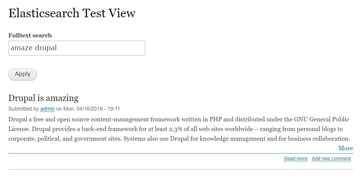 Elasticsearch Test View