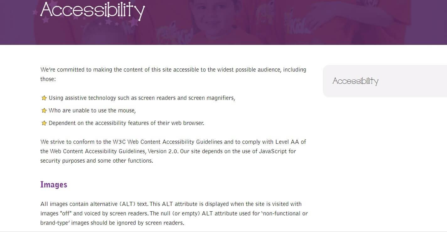 Web accessibility design