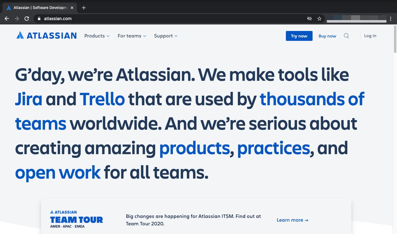 Atlassian webpage