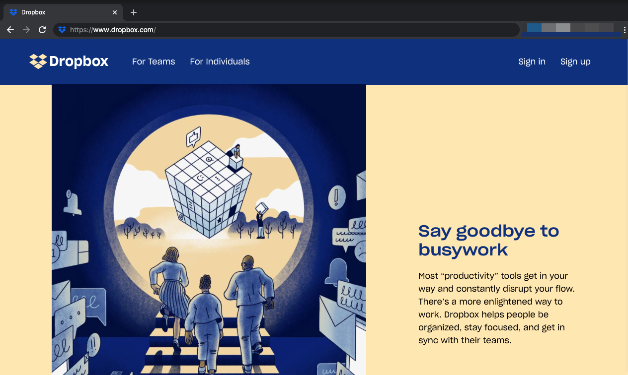 Dropbox webpage