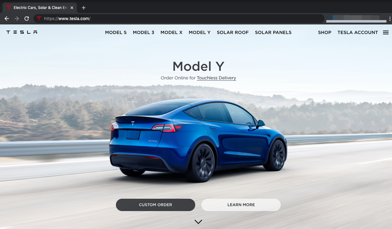 Tesla webpage