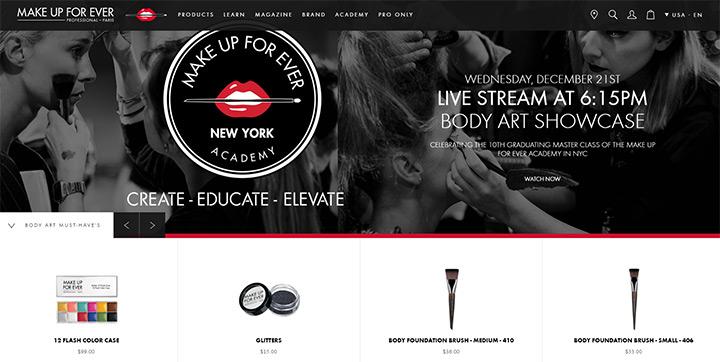 Make up for ever website