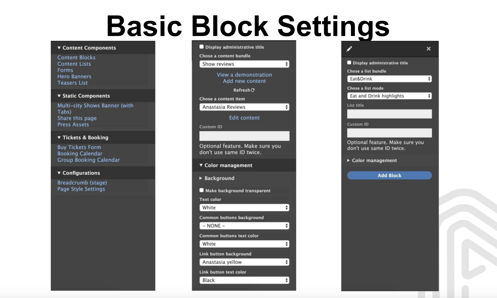 Basic Blocks Settings