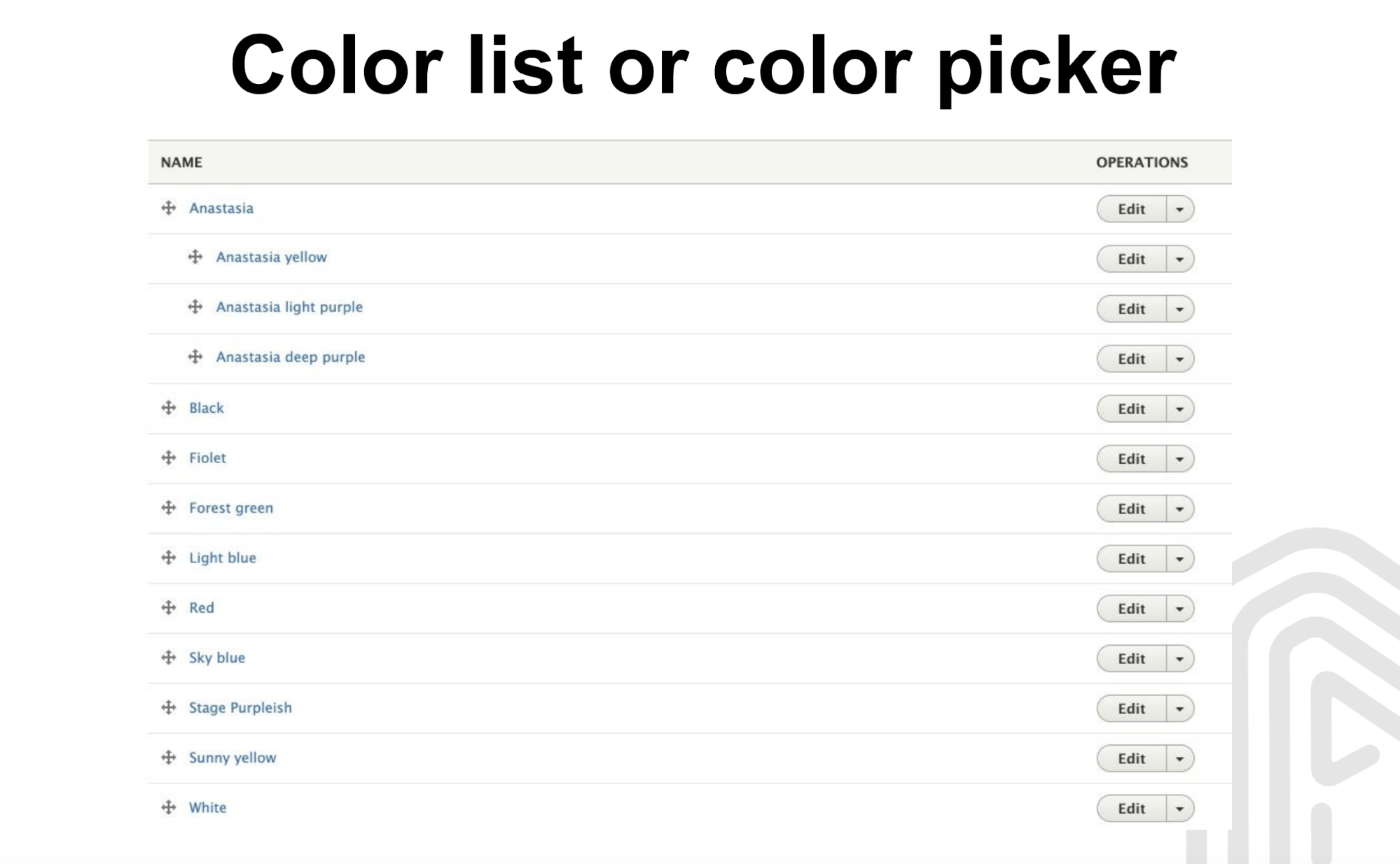 Color list