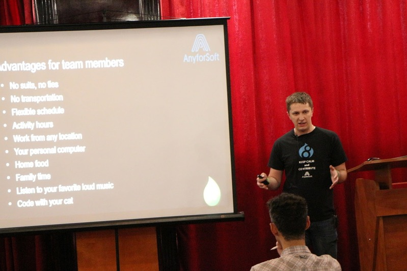 """Anatolii Pazhyn CEO at AnyforSoft. Topic """"Distributed Drupal teams: not an option but reality."""""""