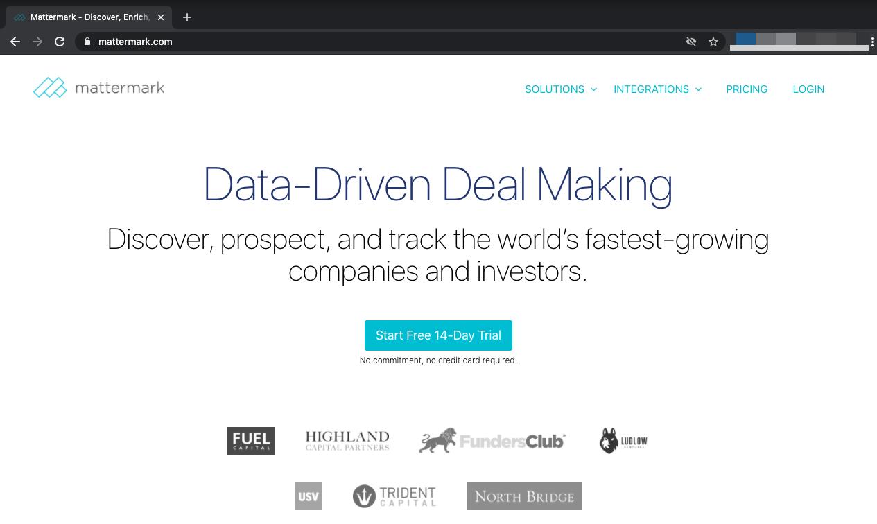 Mattermark webpage