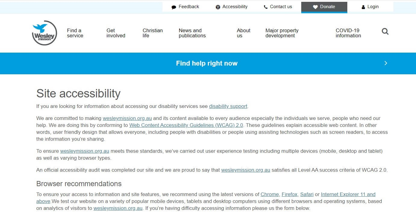 Web accessibility guidance