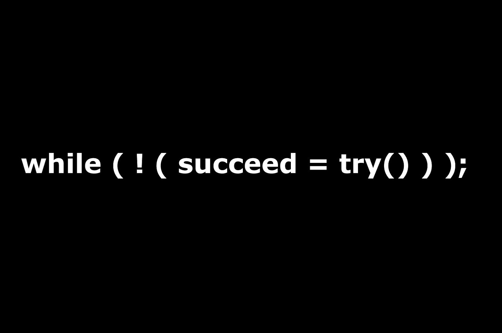 while(!(succeed=try()));